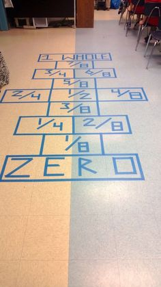 Fraction hopscotch. This would be a fun way to get students interested in math. Instead of just doing worksheets, this gets them actively involved and they can visually learn the parts of the whole while playing a fun game. -Nicole Clark