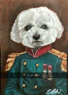 A5 ACRYLIC teddy the dog in uniform- by Emily Willmott