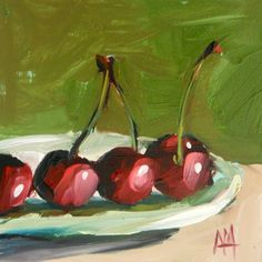 Plate of Cherries original still life fruit oil painting by moulton 5 x 5 inches on panel