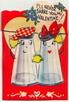 Vintage Greeting Card Valentine Anthropomorphic Salt Pepper Shakers