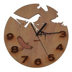 Giftgarden Wood Wall Clock Bird Design Decorative Clocks…