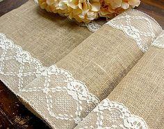 Natural arpillera corredor boda mesa camino de por HotCocoaDesign