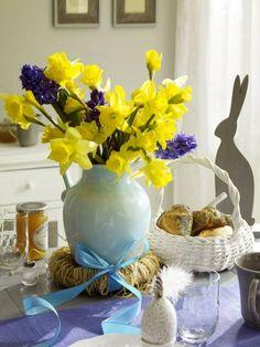 Easter decor inspiration #easter #tabledecor #yellow #blue #bunnies