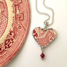 Broken china jewelry - heart shaped necklace pendant - antique red pink willow broken china jewelry with crystal by dishfunctionldesigns on Etsy