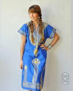 Golden embroidered cobalt Dashiki Kaftan sundress!