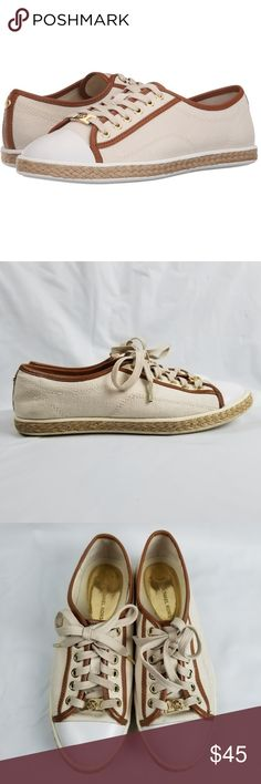 Michael Kors Sneakers Natural Kristy Lace-up Ivory Michael Kors Sneakers Natural Kristy Lace-up Ivory Brown Canvas Leather Trim 6 Sparadilles  Great Condition!  Please see pictures for additional details, as they are also part of my description.  Ship within 24 hours  All items are cross-posted, if they sell on another platform I will delete this listing. All items are shipped securely packed. Michael Kors Shoes Sneakers