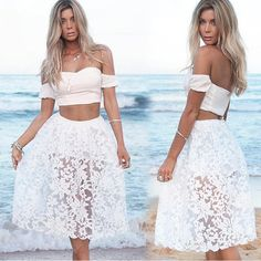 Set - crop top and elastic waist midi dress