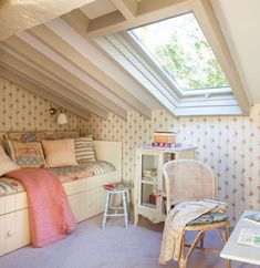 shabby chic attic room- just sit and relax with the natural light coming through the roof window. #window #attic