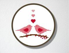 Counted Cross stitch Pattern PDF. Love Birds. Includes easy beginner instructions.. $4.00, via Etsy.