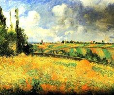 Fields (2) - Camille Pissarro #Impressionism #art #painting #fields