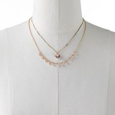 LC Lauren Conrad Gold Tone Simulated Pearl Flower Multistrand Necklace