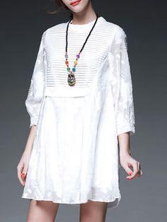 White Casual A-line Ribbed Cotton Mini Dress