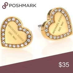 MK PAVE HEART EARRINGS Gold Tone hypoallergenic earrings. Approximately 1/2 inch in diameter.  These earrings come without the posts. Michael Kors Jewelry Earrings