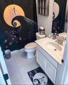 How fun is this Nightmare Before Christmas bathroom set from our friends at Jack and Sally feel right at home and we couldnt be more pleased with this spooktacular NBC bathroom set its perfect for Halloween! You can find this set in the link on my bio! Christmas Bathroom Sets, Halloween Bathroom, Christmas Bedroom, Diy Christmas, Barn Wood Bathroom, Rustic Bathroom Vanities, Modern Bathroom, Disney Bathroom, Bathroom Kids