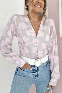 Oh Hello Clothing, June Colors, Pink And Gold, Bee, Floral Prints, Bell Sleeve Top, Fabric, Model, How To Wear