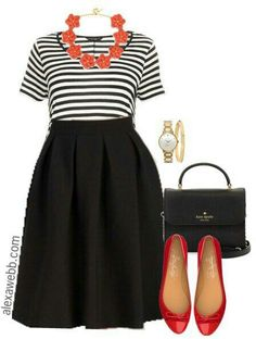 Flare skirt, striped T, red accesories