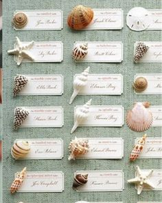 seashell escort cards for a nautical wedding - martha stewart weddings Seating Arrangement Wedding, Wedding Seating, Table Arrangements, Floral Arrangements, Little Mermaid Wedding, The Little Mermaid, Trendy Wedding, Diy Wedding, Wedding Beach