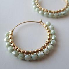 K14gf チェコ オリーブラスター フープピアス | Holiday jewelry
