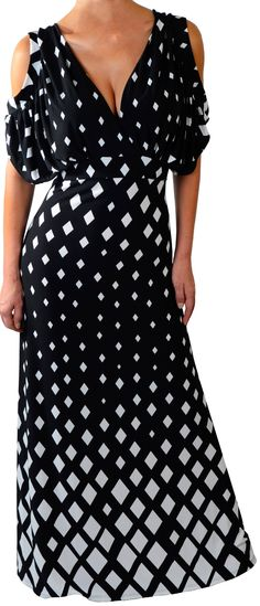 Funfash Plus Size Dress Black White Women's Long Maxi Cocktail Dress