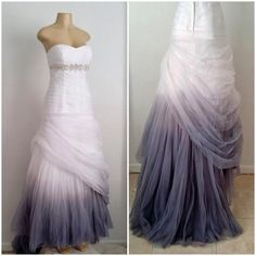 This gown was hand dyed to create this Pearl gray ombre effect by Alteria. Visit www.AlteriaOnline.com