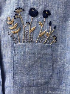 """Купить Рубашка с ручной вышивкой """"Полевые цветы"""" - бирюзовый, вышитая рубаха, вышитая блузка"""