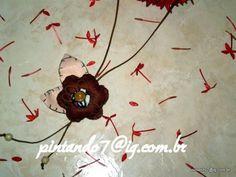 ♥Colae flor com cordão encerado♥