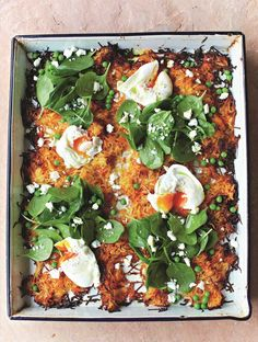 Jamie's Giant Veg Rosti Recipe With Poached Eggs, Spinach & Peas Recipe | Woolworths