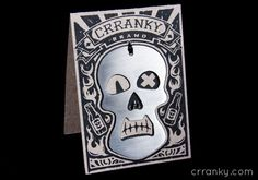 Stainless Steal Crranky Skull Bottle Opener with chipboard carved woodblock art package. #illustration #skull #design