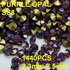 ss8  1440pcs/bag Purple Colors Round Opal Rhinestones Pointback for Nail Art  2.3mm-2.5mm Diy Nail Art Rhinestones Accessories