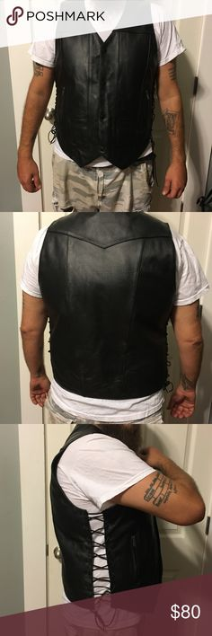 Street & Steel Gunslinger Leather Motorcycle Vest Real leather, EXCELLENT like-new condition! Not even broken in yet. TONS of pockets (shown in pics) to stash all your necessities for the ride! Size Large, but adjustable sides offer a perfect custom fit! 👌🏼Retails for $130. Reasonable offers welcome! Street & Steel Jackets & Coats Vests