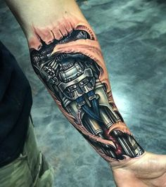 coolTop Tattoo Trends - Robot Forearm, Mens Biomechanical Piece | Best tattoo design ideas...