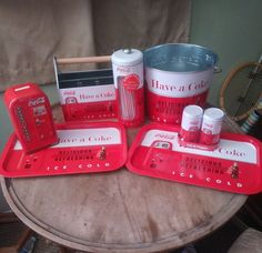 Lot Of 7 Collectable Coca Cola Tin Tray, Bucket, Caddy, S+p Shaker, Straw Holder