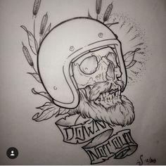 super ideas tattoo old school design sketches ideas Bike Tattoos, Skull Tattoos, Body Art Tattoos, Sleeve Tattoos, Tattoo Illustration, Ink Illustrations, Tattoo Sketches, Tattoo Drawings, Tatoo Crane