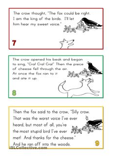 Afbeeldingsresultaat voor the fox and the crow English Short Stories, English Story, English Phrases, English Writing, Moral Stories For Kids, Short Stories For Kids, Comprehension Exercises, Reading Comprehension, Educational Activities
