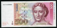 German currency 500 Deutsche Mark banknote 1991, Maria Sibylla Merian
