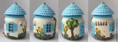 Polymer clay jar house - amazing detail!