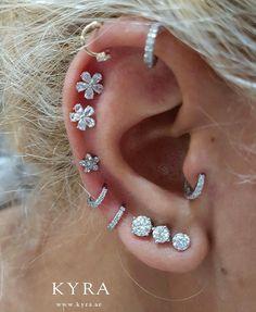amanda Beauty Piercings etc. Pretty Ear Piercings, Ear Peircings, Types Of Ear Piercings, Multiple Ear Piercings, Body Piercings, Cartilage Piercings, Cartilage Earrings, Ear Jewelry, Cute Jewelry