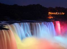 CHECK--Niagara Falls (165ft), NY & ON. Most powerful waterfalls in North America. I've been in all 4 seasons, and to both the U.S. and Canadian side. The best is the Canadian side, and in the winter!! My favorite views are behind the falls, the Skylon Tower, and the SkyWheel. I haven't been yet, but the view from Goat Island is supposed to be awesome.