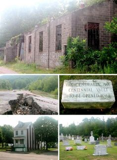 """In the small town of Ashland, Pennsylvania, Route 61 takes an unexplained detour; a """"Keep Out"""" sign straddles the original highway. Ignore the warning and you'll arrive in the abandoned town of Centralia, where an underground mine fire has been burning since 1962 when residents accidentally ignited a vein of anthracite coal. Despite efforts stop the fire it still burns today and could burn for 250 years. Some houses still stand but most have been demolished. 'Silent Hill' was based on this…"""