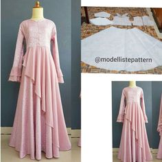 Gamis with side flare skirt pattern 💕 Open order, custom your own pattern, request design and size and get the best price 🌸 . Long Dress Patterns, Dress Making Patterns, Blouse Patterns, Indian Designer Outfits, Designer Dresses, Dress Muslim Modern, Dress Brokat, Simple Gowns, Kurti Designs Party Wear