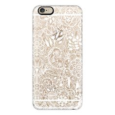 iPhone 6 Plus/6/5/5s/5c Case - Frosty Floral - white hand drawn floral... (52 CAD) ❤ liked on Polyvore