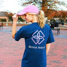 """Pink navy & striped- our new """"Stripe Down"""" logo tee is the thing of preppy dreams! #DMSpring17"""