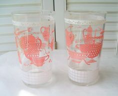 Pink Juice Glasses Vintage Pink Tumblers Retro Kitchen Mid Century Drinking Glasses Kitschy Kitchen