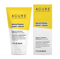 We found the best brightening night cream at Target--it's Acure's Brightening Night Cream. Find out more about this argan oil night cream at SheFinds Argan Oil Night Cream, Dark Circles Makeup, Anti Aging Night Cream, Cream Cream, Dark Spots, Rid, Skin Care, Target, Products