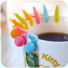 Couleur aléatoire! 6 pcs/lote mignon Snail forme Silicone sachet de thé porte - gobelet tasse de bonbons couleurs cadeau Set bonne