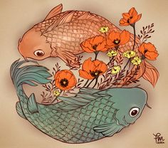 "poppy and koi fish tattoo ""Just 2 lost souls swimming in a fish bowl"" Love Tattoos, Girl Tattoos, I Tattoo, Small Wing Tattoos, Tattoos For Kids, Ankle Tattoo, Chest Tattoo, Tatoos, Yin Yang Tattoos"