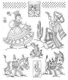 Vintage Embroidery Transfers Mexican themes. From an unmarked envelope full of various transfers