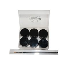Set of 6 of our gel eyeliners. Amaretto, Charcoal, Chocolate, Kohl, Lapis, Teal and an eyeliner brush.