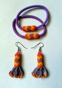 Native American Style Beaded Earrings With by AlphaMelsBeadwork, $17.00