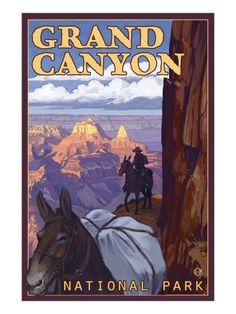 Grand Canyon National Park, Arizona, Mule Train Scene Arches Nationalpark, Yellowstone Nationalpark, National Park Posters, Us National Parks, Great Smoky Mountains, North Cascades, Nationalparks Usa, Voyage Usa, Pub Vintage